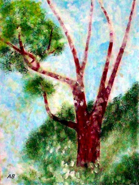 Alter Baum-Original, Ölgemälde, Baum, Berge, Natur, Bäume, Büsche, Gras, Pflanzen, Landschaftsbild, Ölmalerei, Ölbild