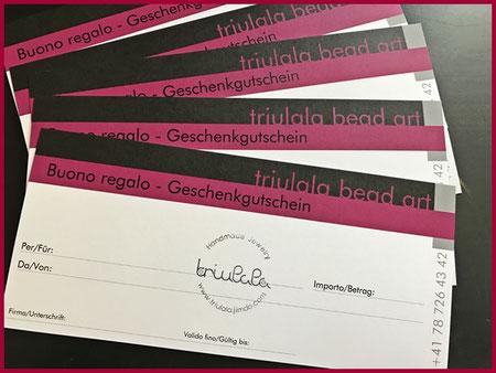 Geschenkgutschein für ein handgefertigtes Schmuckstück von Triulala