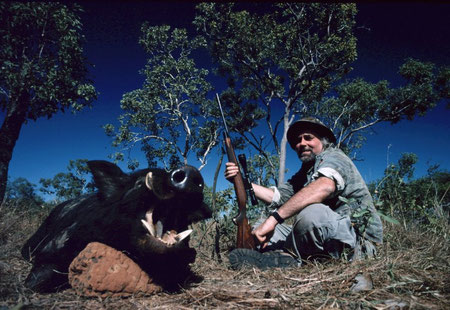 With a feral boar...a big one; Northern Territory, Australia.
