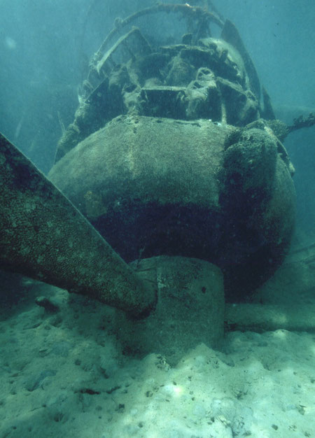 A strafed E13A Japanese floatplane rests on the bottom of the concealed inlet where it was unsuccessfully hidden, Airai, Palau.