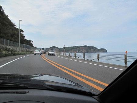小樽、塩谷海水浴場辺りを通過