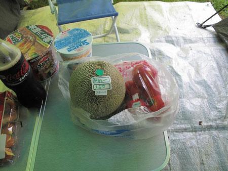 道端の直売所で買ったメロンとトマト。メロンは何と150円!