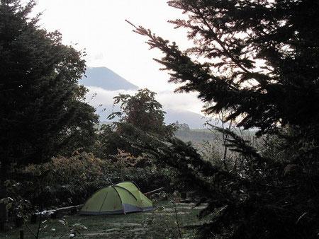 私のテントを獣道から撮影