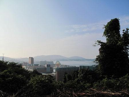 8月9日16:58  高台から小樽のマリーナ方向を望む