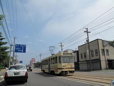 8月8日10:35  函館に到着。路面電車が函館に来た事を実感させる