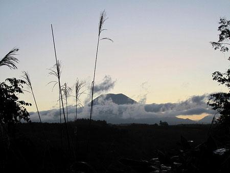 キャンプ場から羊蹄山が見えます