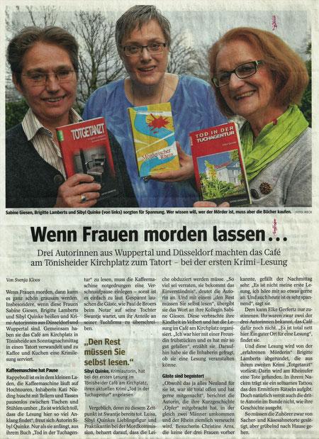 Westdeutsche Allgemeine Zeitung vom 24.11.2015, Ausgabe Velbert, (c) Foto: RIECK
