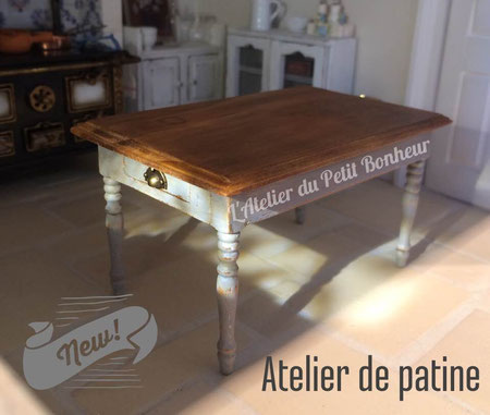 Atelier de patine sur meuble miniature