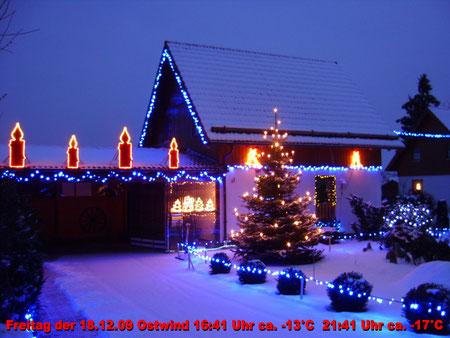 Mein Weihnachtsfoto vom 18.12.2009  16:41 Uhr -13°C eisiger Ostwind um 21:41 Uhr -17°C