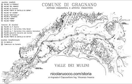 Cartina del posizionamento dei mulini lungo la Valle, sia quelli visibili, sia quelli di cui rimangono soltanto delle tracce. Riproduzione riservata