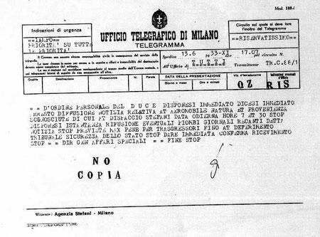 Telegramma riservatissimo del Duce datato 13 giugno 1933 sul ritrovamento di un veicolo non identificato caduto nei pressi di Milano - Archivio di Stato - Milano