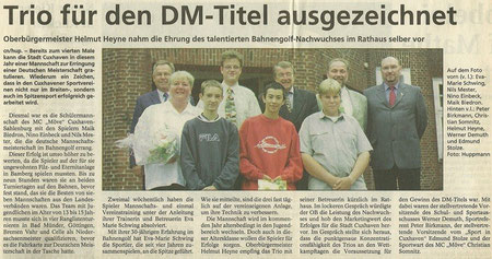 Vorn im Bild von links: Nils Mester, Nino Einbeck, Maik Biedron