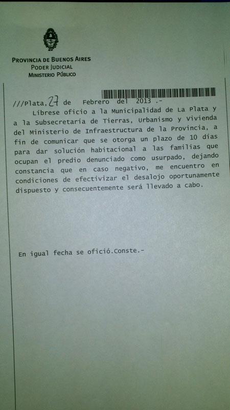 Resolucion Juzgado de Garantias 5 Dra. Garmendia Juez. 27 de febrero 2013, Ordena Desalojo nuevamente