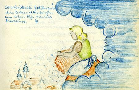 """""""So schüttelte Goldmarie ihre Betten über Burghaun am letzten Tage meines Hierseins."""" - Es schneite also zu ihrem Abschied am 5. März 1946!"""