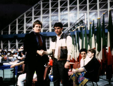 Bruno con Joe Lewis prima del match Italia vs USA-Palavela di Torino
