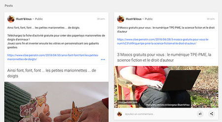 Capture d'écran de posts Marionnettes à doigts goodies et veille Moocs gratuits de Cloé Perrotin sur le réseau social Google +