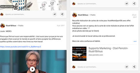 Capture d'écran de posts veille d'art du cinéma et création carte de visites de Cloé Perrotin sur le réseau social Google +
