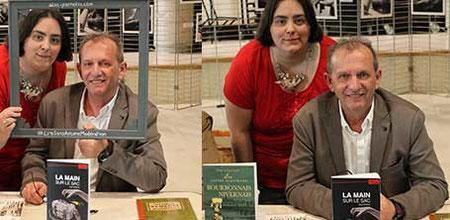 L'auteur Serge Camaille et l'illustratrice Cloé Perrotin à la 6ème Caravane Littéraire d'Yzeurespace en 2016