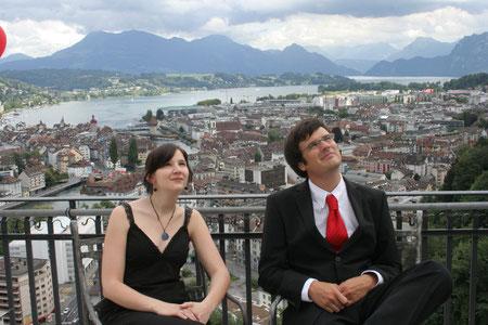 Beim Musizieren an einer Hochzeit auf dem Gütsch, Luzern