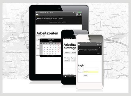 Mobile Zeiterfassung, Arbeitszeiterfassung auf Tablet, Smartphone, Handy