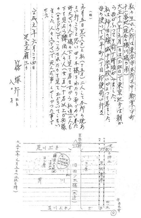 篠塚さんは、事件について手記と地図を残して下さった。