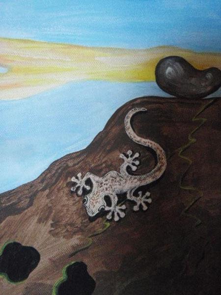 Teil eines Acrylbildes - Gecko