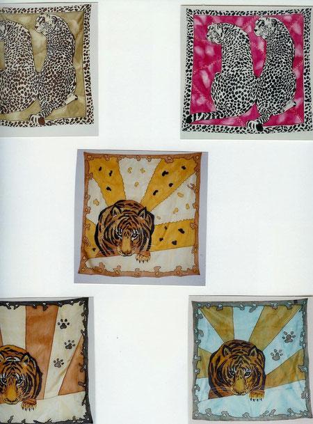 verschiedene Seidentücher im Format 90 x 90 cm