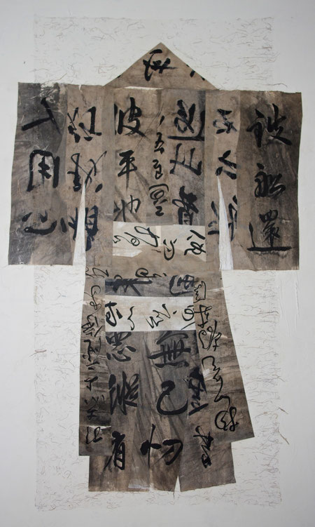 paper kimono 2012 collage  ink  broux de noix  hemp paper   165 x 80 cm