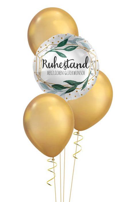 Ballondeko Abschied Party Ruhestand Pension Rente Herzlichen Glückwunsch Bouquet Helium Heliumballon Luftballon Ballon Deko Dekoration Hingucker Eyecatcher exklusiv besondere Mitbringsel Versand Geschenk gold Arbeitskollege Kollege Mitarbeiter Chef Vater