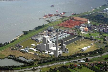 Fotomontage des geplanten Kohlekraftwerks in Stade-Bützfleth