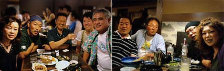 8月14日夜に送られてきた飲み会風景。(写真左の右側お二人は大西ご夫妻)