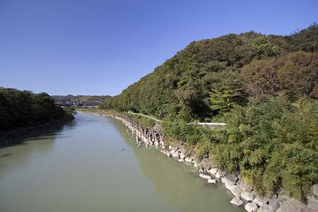 中州と陸地を結ぶ橋の上から。
