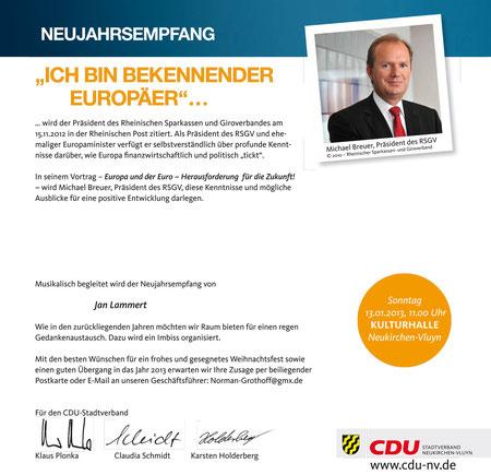 Neujahrsempfang CDU Stadtverband Neukirchen-Vluyn