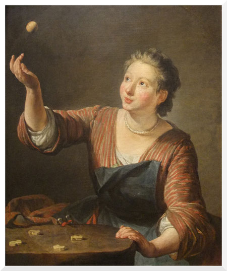 Gemälde von Jean-Baptiste-Siméon Chardin - The Game of Knucklebones (ca. 1734)
