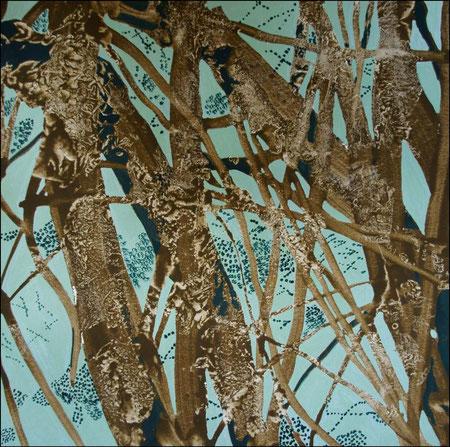 jardin d'Eden V, acrylique et gouache  sur papier, 30 x 30 cm