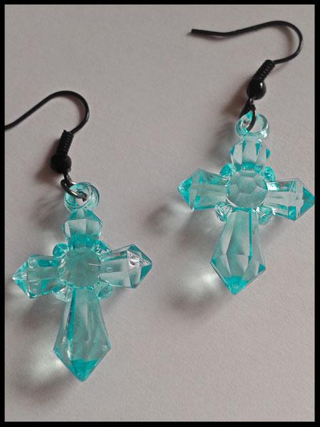 Translucent Aqua Cross Earrings