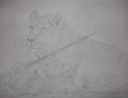 10. März 2012 - Löwin und 2 Babies / 1. Platz beim Zeichenwettbewerb der Privaten BBS Haus Nazareth in Landstuhl