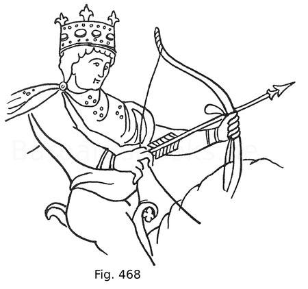 Fig. 468. Französischer König, dargestellt zu Pferde, einen Bogen abschnellend. Aus einem Manuskript aus der zweiten Hälfte des 11. Jahrhunderts der Nationalbibliothek in Paris. Nach Jaquemin.
