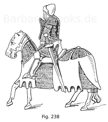 Fig. 238. Reiter im Haubert und Brünne, mit an Lederstreifen befestigten Ringen verstärkt. Das Pferd, mit Parsche aus gleichem Stoff und darüber gelegter Lederdecke, ist mit einem schweren Rosskopf ausgestattet. Elfenbeinstatuette, im Besitz des Rev. J. E