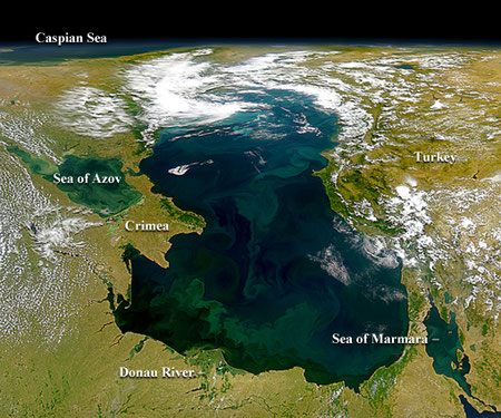 """Eutrophication of Black sea"",  The effects of possibly agricultural runoff in the Donau can be seen in this SeaWiFS image as the river empties into the Black Sea at the bottom of this image. ©NASA/GSFC, and ORBIMAGE."