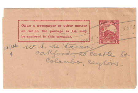 Pre printed Newspaper wrapper, Christchurch to Ceylon