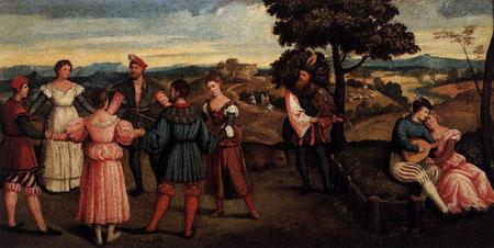 "Bonifacio VERONESE, ""Récréation en plein air avec des danseurs"", v. 1540, Akademie der bildenden Künste, Vienne (source : WGA)."