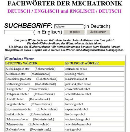 english,german, dictionary mechatronics,robotics,examples, technical terms, vocabulary,translations,translator,education,of drives,gripper,actuator