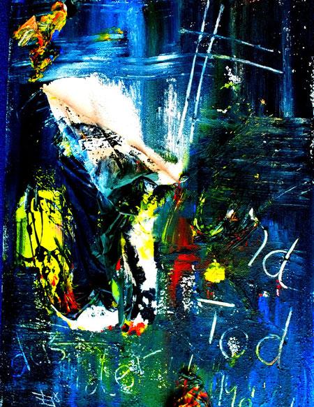 der tod und das mädchen, Acryl und Materialmix auf Leinwand, Juli 2012, 60 x 80cm, € 320,00
