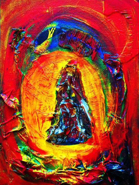 magischer tanz zur feier des lebens, Acryl und Materialmix auf Leinwand, Juli 2012, 60 x 80cm, € 270,00