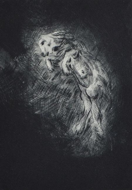 Haltlos • 2019 • Kaltnadelradierung • Engraving print on paper • 39 x 26,5 cm