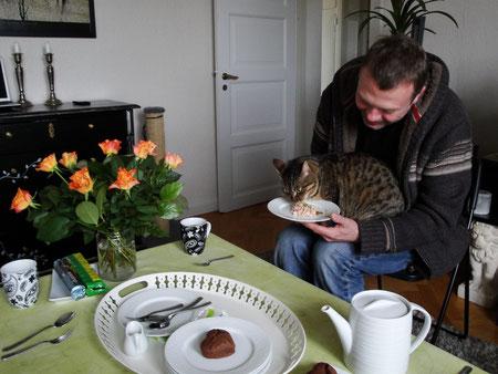 thon et herbe à chat pour lui... coeur en chocolat pour nous !