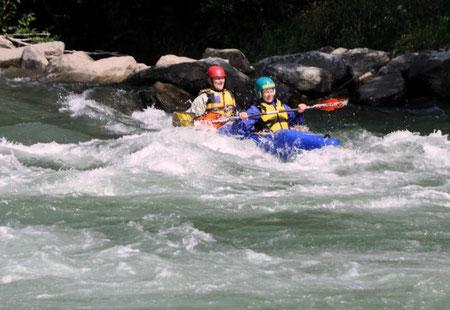 Doris sammelt erste Wildwassererfahrungen