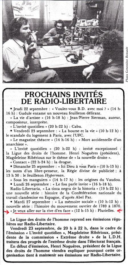 programe de radio Libertaire; sur la photo Julien Blaine, SERVIN;, Jean Touzot
