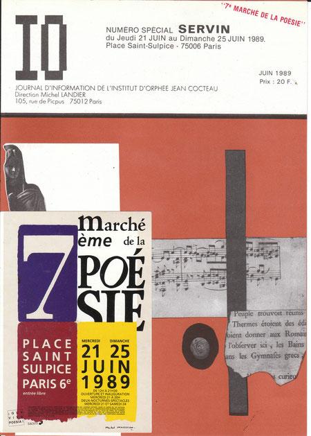 Carte Marché Poésie 1989 sur la revue IO consacrée à SERVIN